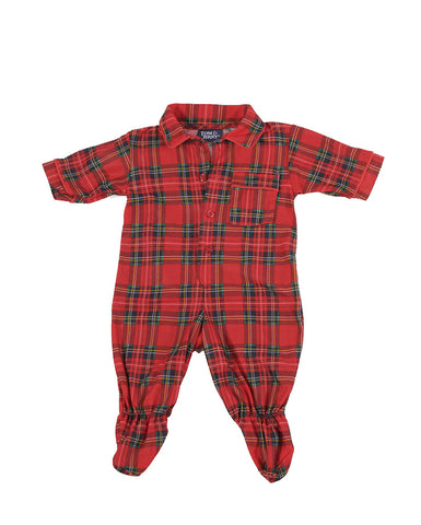 Laura Dare/Tom & Jerry Christmas Plaid Footed Jumpsuit for Babies sz 3 mos