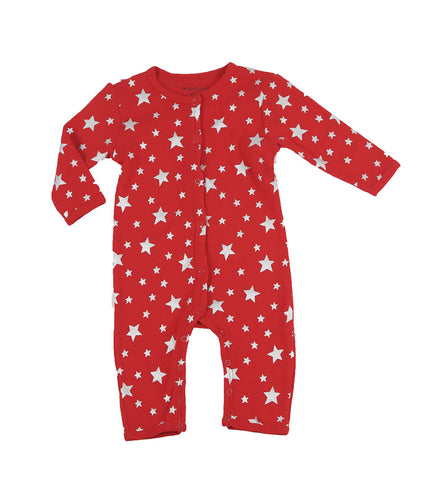Skylar Luna Organic Red & Silver Stars One Piece Pajamas for Babies