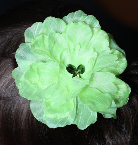 Cach Cach Hairclip with Big Lime Green Flower and Gems