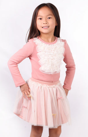 Maeli Rose Light Salmon Pink Sweatshirt Skirt with Tulle sz 2T only