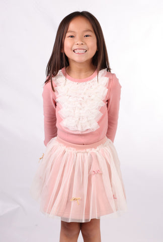 Maeli Rose Salmon Pink Top with Lace Jabot Trim sz 12m & 24m