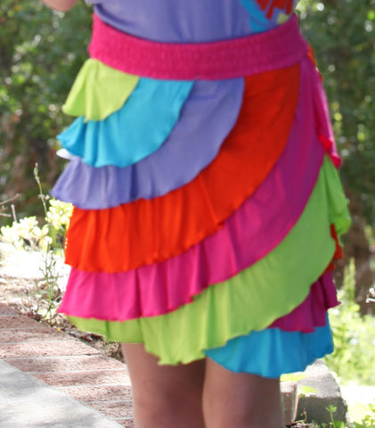 Limeapple Shades of Summer Asymmetrical Ruffle Skirt sz 4 & 5 only
