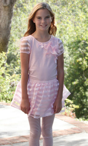 Maeli Rose Ribbon Top and Skirt Set in Pink