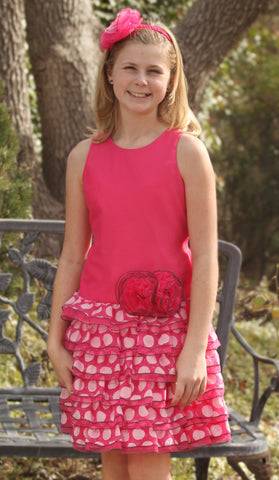 Isobella and Chloe Razzle Berry Dropwaist Dress for Tweens