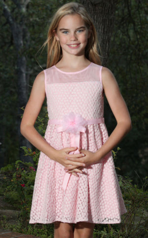 Blush by Us Angels Pink Daisy Lace Dress for Tweens