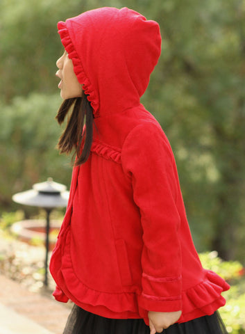 Isobella and Chloe Red Ruffled Hooded Fleece Coat