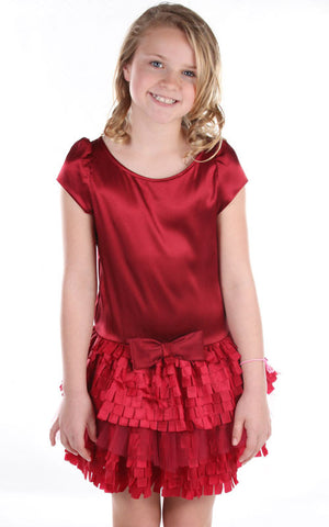 Dolls & Divas Garnet Satin Dress with Tab Cut Tutu Skirt sz 12m 2T & 5 & 10
