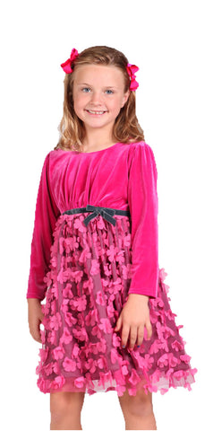 Isobella and Chloe Sweet Tart Fuschia Velvet & Mesh Dress sz 4 only