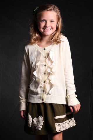 Trish Scully Ivory Ruffled Sweater Cardigan sz 2T only
