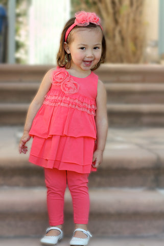 Isobella and Chloe Jenny Pantset in Coral sz 4T only