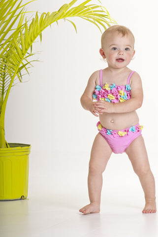 Kate Mack Hula Flowers Baby Bikini for Babies sz 12m & 18m only