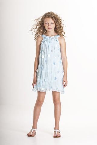 Biscotti Crushed Chiffon Dress with Spangles