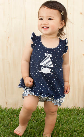 Le Top Anchors Aweigh Nautical Sun Top and Bloomer with Sailboat sz 9 mos only