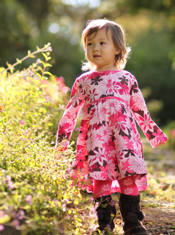 Le Top Burst of Blooms Dress and Tights sz 24 mos only