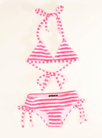 LiloTati Pink Striped Terry Cloth Bikini Swimsuit