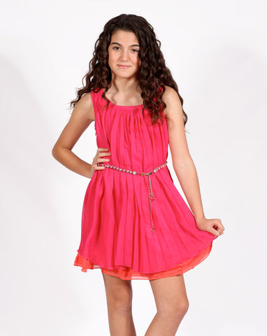 Elisa B Pleated Tank Dress with Glittery Belt in Fuschia