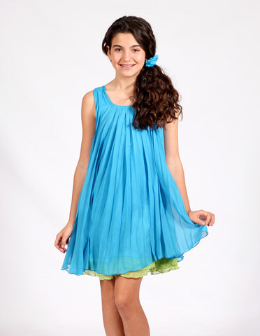 Elisa B Pleated Tank Dress with Glittery Belt in Turquoise for Tweens