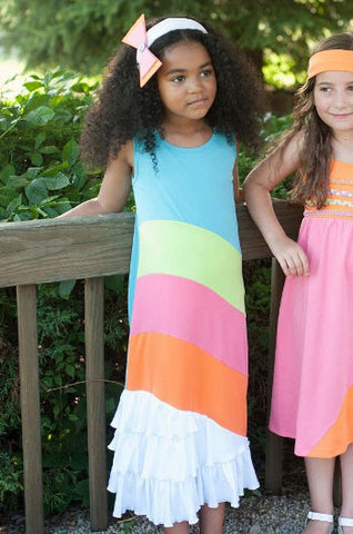 Lemon Loves Lime Sunshine Rainbow Maxi Dress sz 4 only