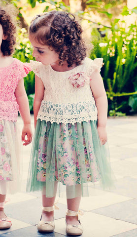 Mini Treasure Kids Willow Lace Dress in Green sz 12 only