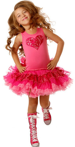 Ooh La La Couture Embroidered Tulle Heart Poufier Dress sz 2T only
