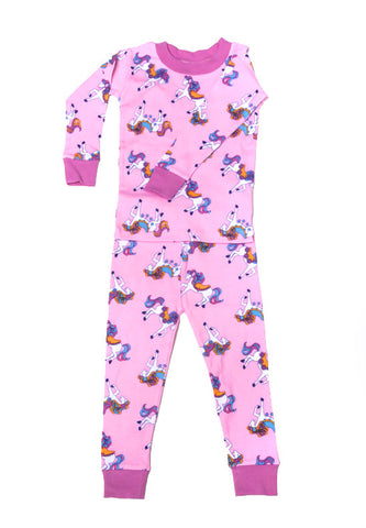 New Jammies Organic L/S Pajamas in Pretty Ponies sz 24m & 2T & 3T