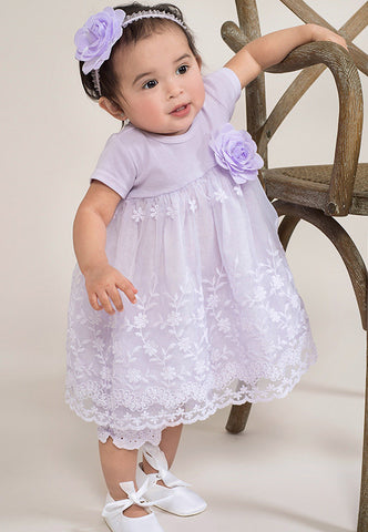 Truffles Ruffles Embroidered Lace Dress in Lavender for Babies & Toddlers