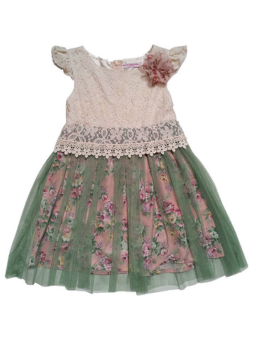 Mini Treasure Kids Willow Lace Dress in Green sz 8 & 12 only