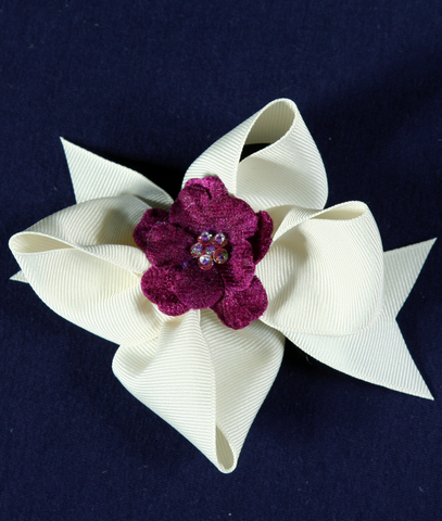 Buds & Bows Off-White Bow with Purple Flower Center