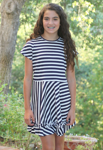 Stella Industries Soda Dress in Navy and White Stripe sz 5 only