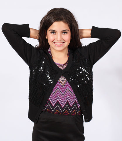 Sally Miller Sequin Cardigan Bolero in Black