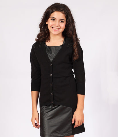 Sally Miller High-Low Cardigan with Studding Detail in Black