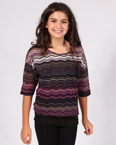 Sally Miller Two-fer Top in Purple Wavy Stripe sz 10 only