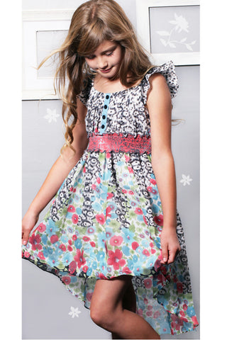 Sara Sara Collection Ruffle Sleeve High Low Dress for Tweens