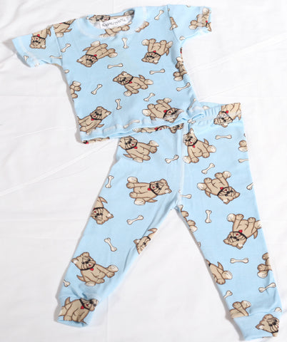 Thingamajiggies Bull Dog Puppy Short Sleeve Long Pant Pajamas 3T & 5 only