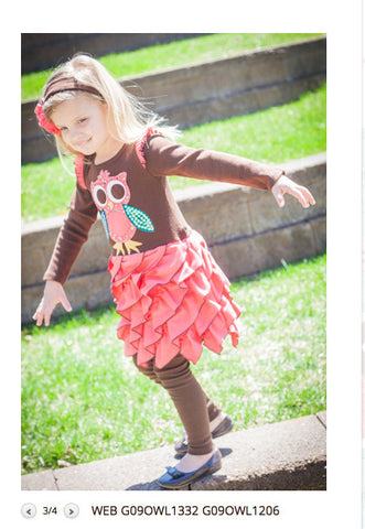 Sam and Sydney Owl Ruffle Dress sz 6 & 6x