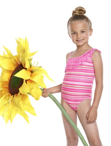 Malibu Girl Hula Star Ripple One-Shoulder Swimsuit