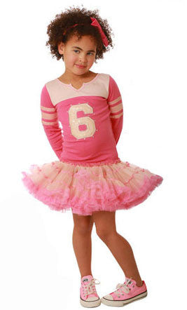 Ooh La La Couture L/S Varsity Birthday Dress in Blush/Candy Pink