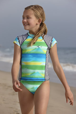 Malibu Gossip Girl Aurora Scenic Rash Guard and Bikini Bottoms sz 7 & 10 only