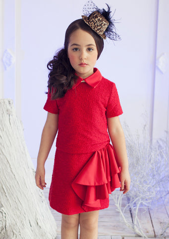 ValMax Italian Red Boucle Tweed and Satin Short Sleeve Dress