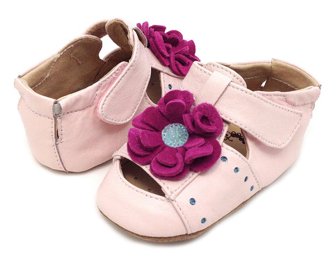 Livie and Luca Light Pink Bloom Shoes for Babies sz 0/6 mos only