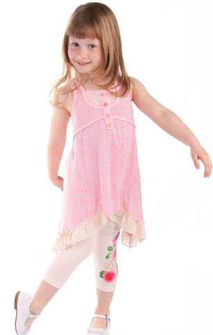 Baby Sara Be My Angel Striped Tunic with Lace and Roses Leggings Set