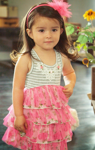Baby Sara Fancy Bow Back Chiffon & Mesh Tutu Dress sz 4 & 5 only