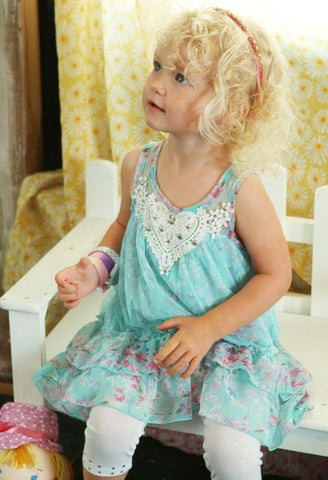 Baby Sara Sugar Icing Butterfly Lace Sun Dress sz 6 only