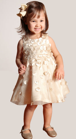 Biscotti Falling for Dots Gold Champagne Dress for Babies & Toddlers sz 3T only