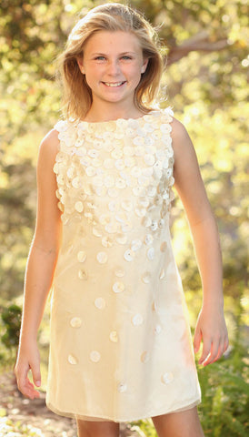 Biscotti Falling for Dots Golden Champagne Dress sz 4 5 & 7 only