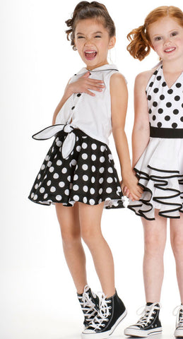 Kate Mack Opposites Attract B/W Polka Dot Skirt for Girls