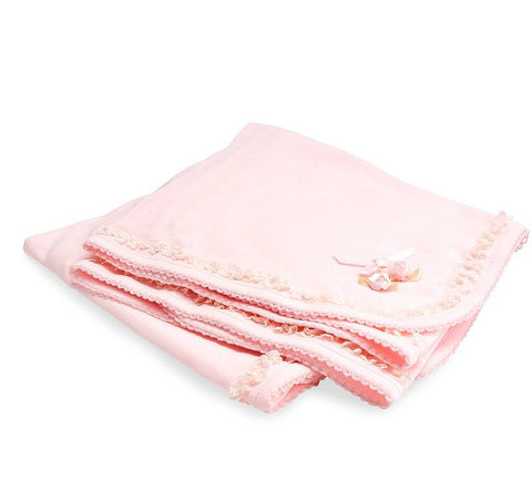 Biscotti Lullaby Lace Blanket with Tulle Bag in Soft Pink