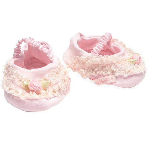 Biscotti Lullaby Lace Hat & Booties Set for Newborns in Pink