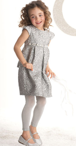 Biscotti Snow Princess Silver Brocade Classic Silhouette Dress sz 5 6 only
