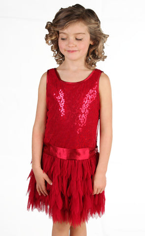 Biscotti Sequin Dropwaist Tutu with Feather Tulle in Red sz 8 only